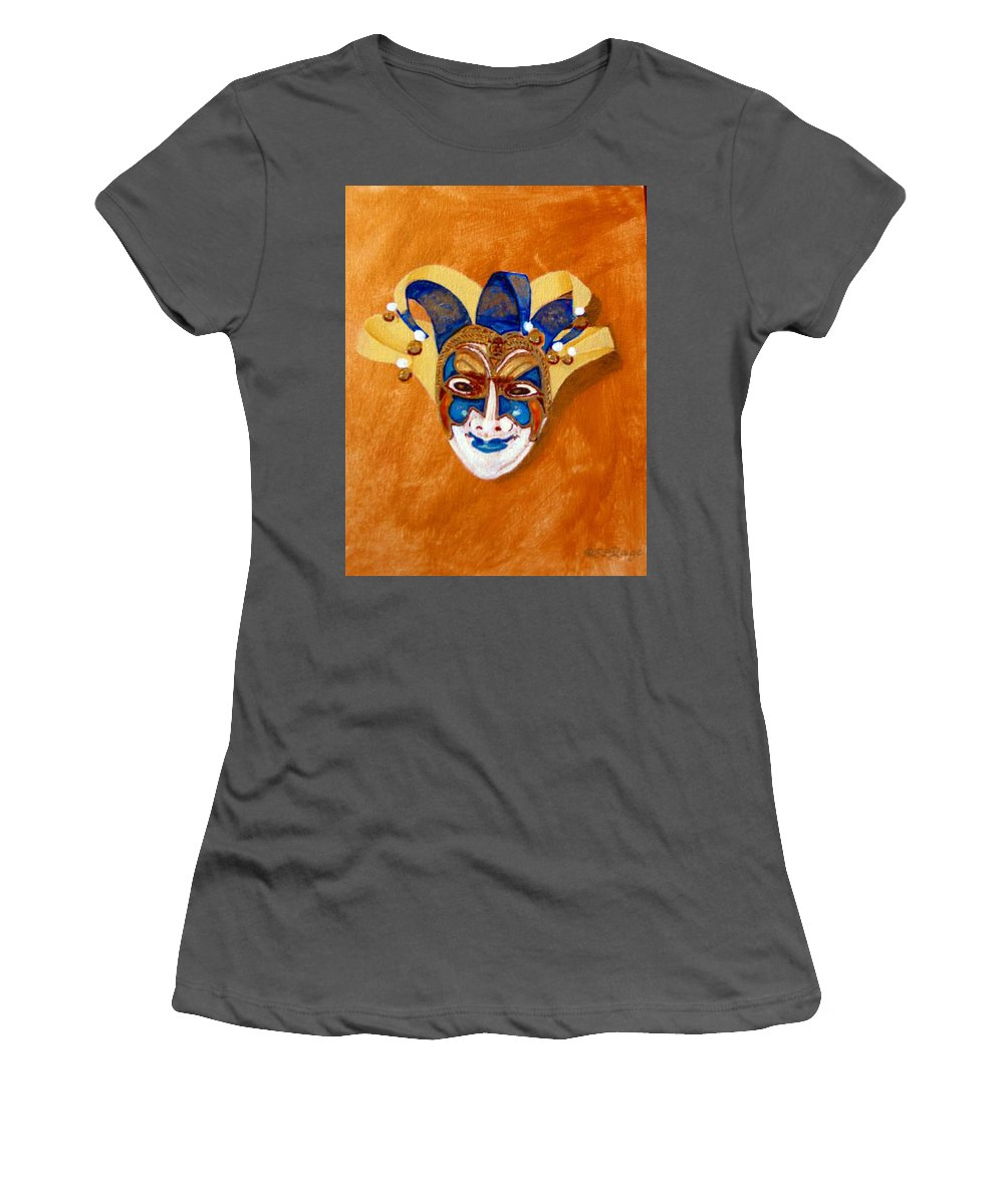 Mask Women's T-Shirt (Athletic Fit) featuring the painting Venetian Mask 2 by Richard Le Page