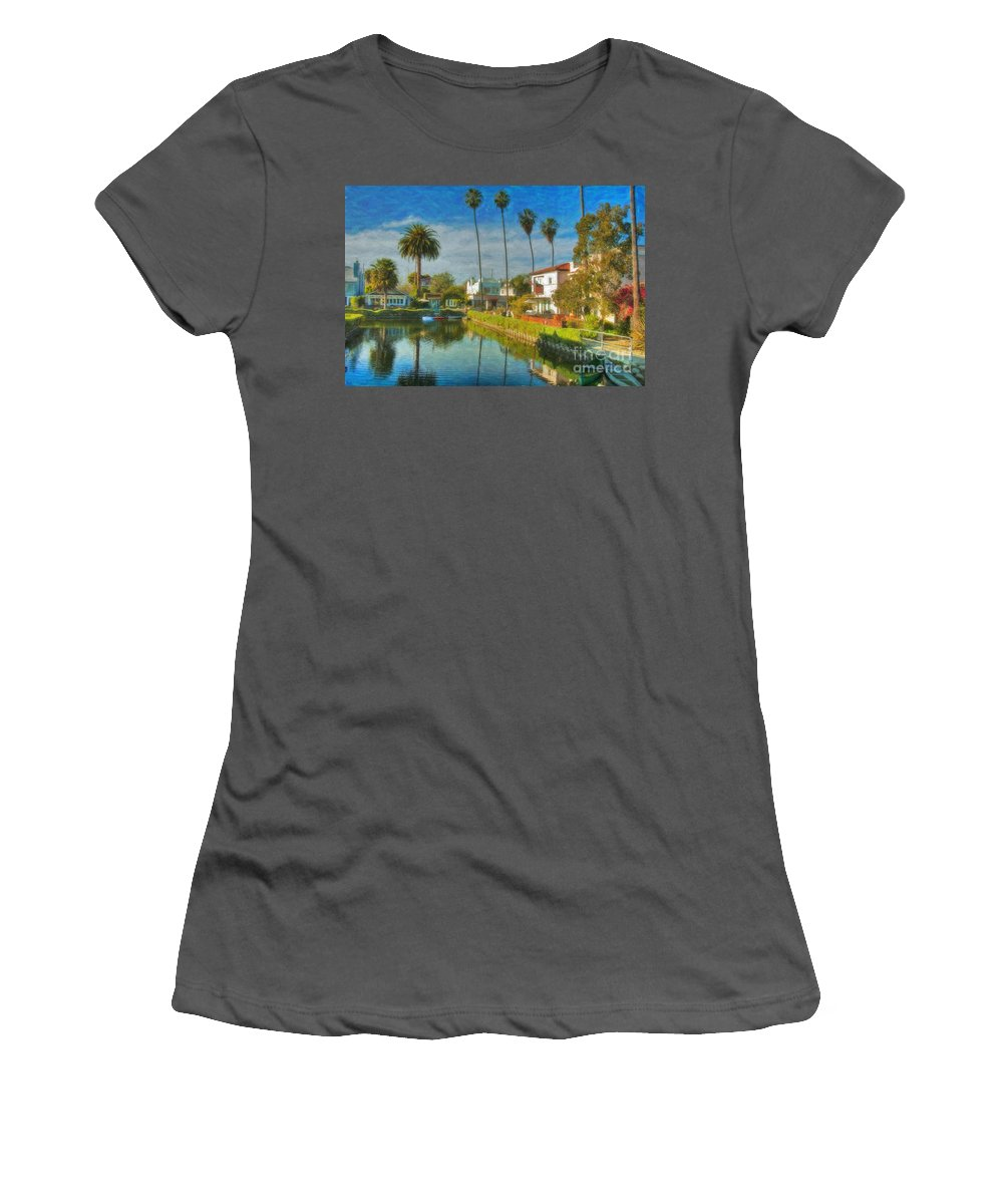 Venice Women's T-Shirt (Athletic Fit) featuring the photograph Venice Canal Houses Watercolor by David Zanzinger
