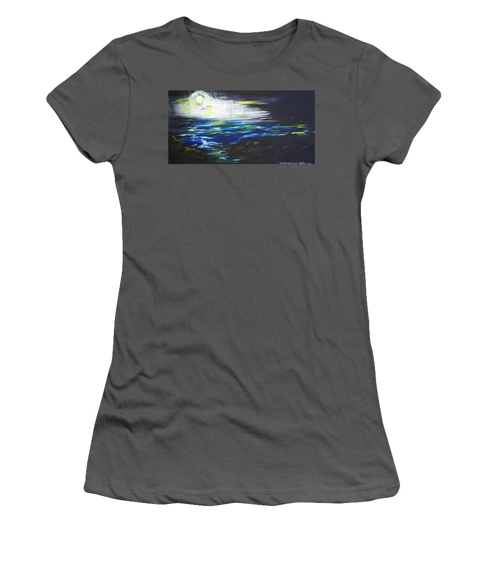 Night Women's T-Shirt (Athletic Fit) featuring the painting Ventura Seascape At Night by Sheridan Furrer