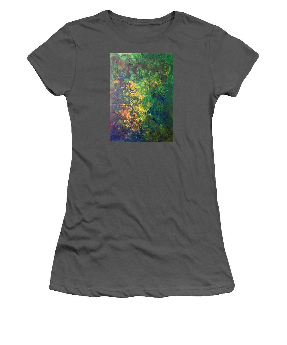 Abstract Art Women's T-Shirt (Athletic Fit) featuring the painting Venus Lunar Surface by John Dossman