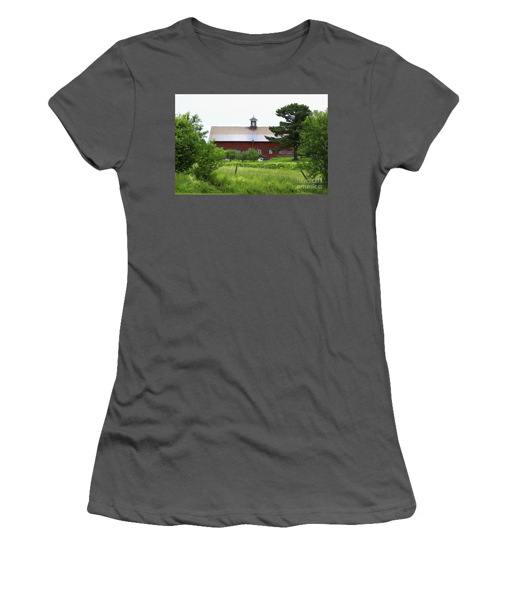 Barn Women's T-Shirt (Athletic Fit) featuring the photograph Vermont Barn With Tire Swing by Deborah Benoit