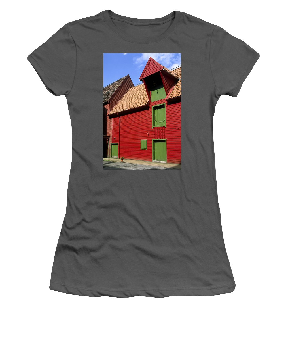 Vibrant Red & Green Building Women's T-Shirt (Athletic Fit) featuring the photograph Vibrant Red And Green Building by Sally Weigand