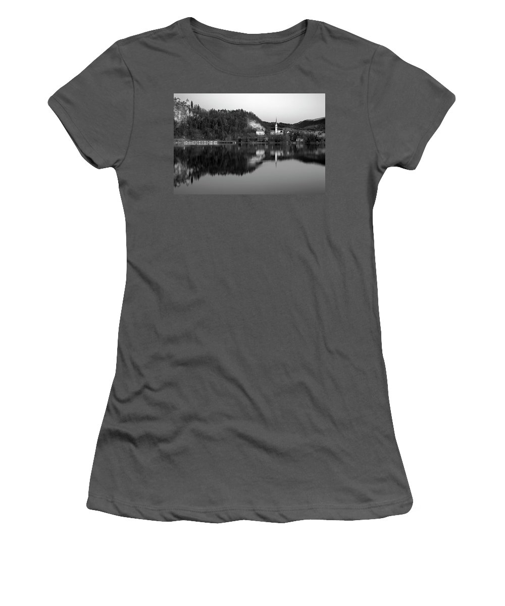 Bled Women's T-Shirt (Athletic Fit) featuring the photograph View Across Lake Bled In Black And White by Ian Middleton