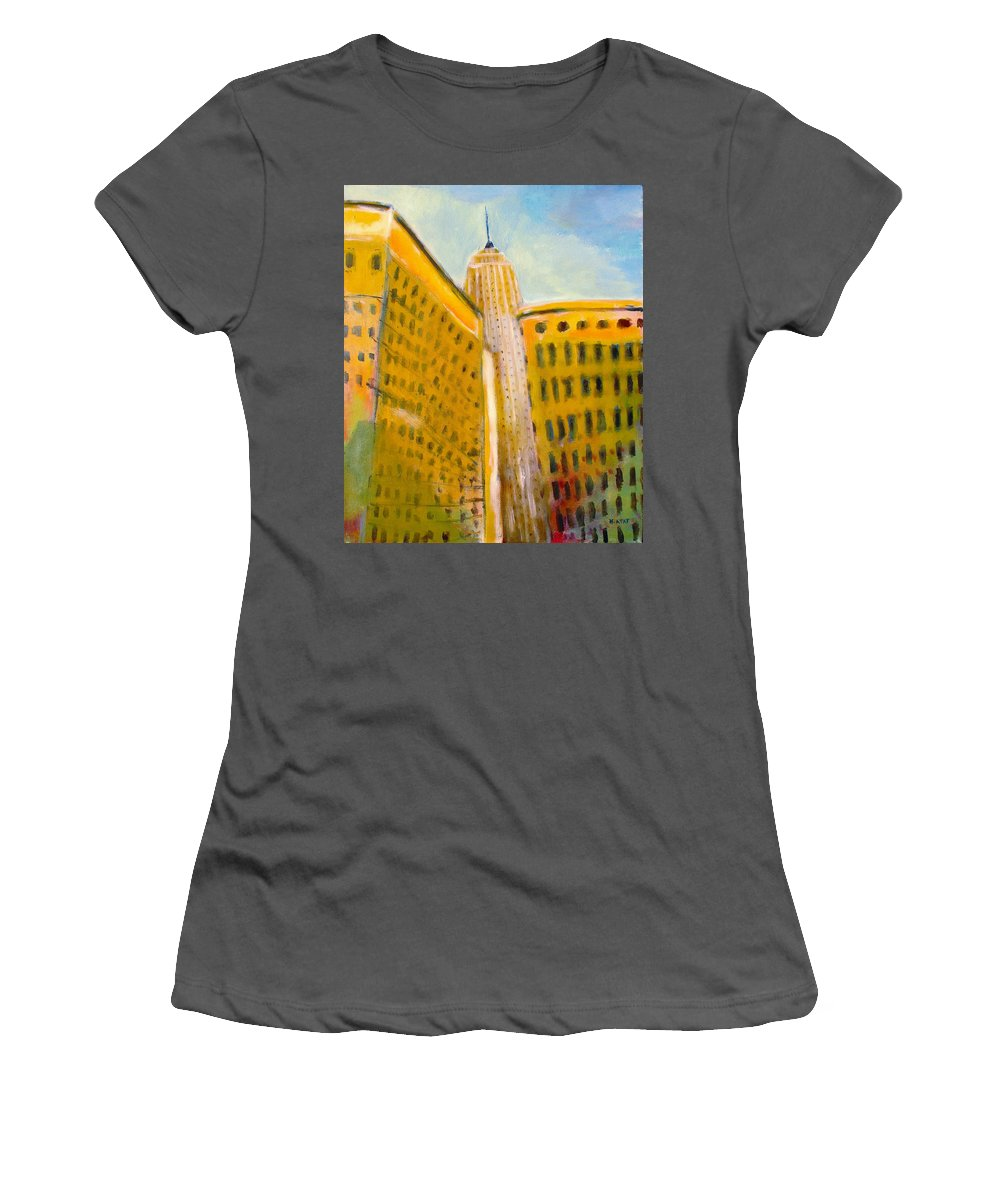 Abstract Cityscape Women's T-Shirt (Athletic Fit) featuring the painting View From The 33 St by Habib Ayat