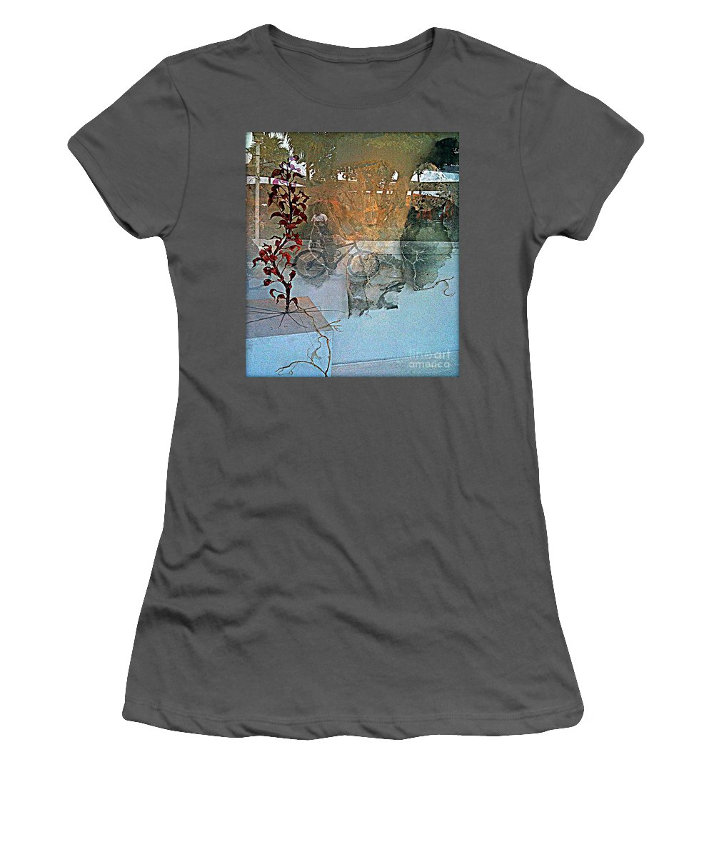 Fania Simon Women's T-Shirt (Athletic Fit) featuring the mixed media View From The Window by Fania Simon