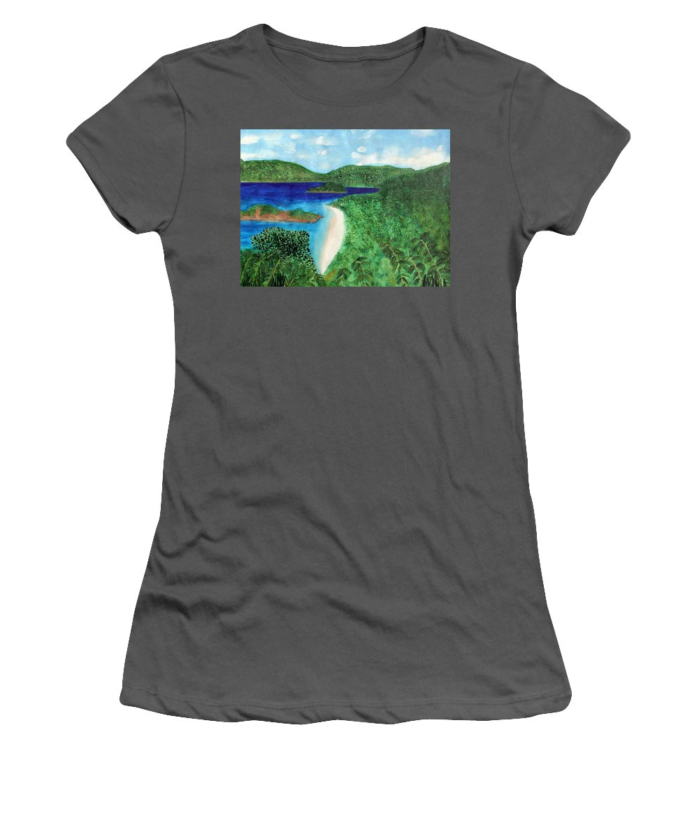 Atlantic Women's T-Shirt (Athletic Fit) featuring the painting View Of Beach In St John Us Virgin Islands by Lee Serenethos