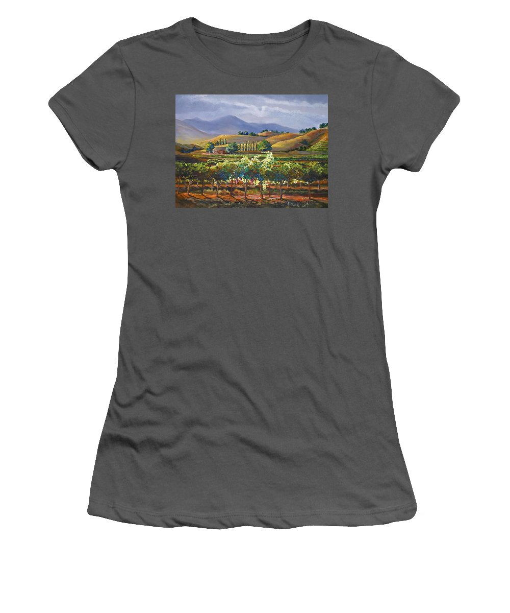 Vineyard Women's T-Shirt (Athletic Fit) featuring the painting Vineyard In California by Heather Coen