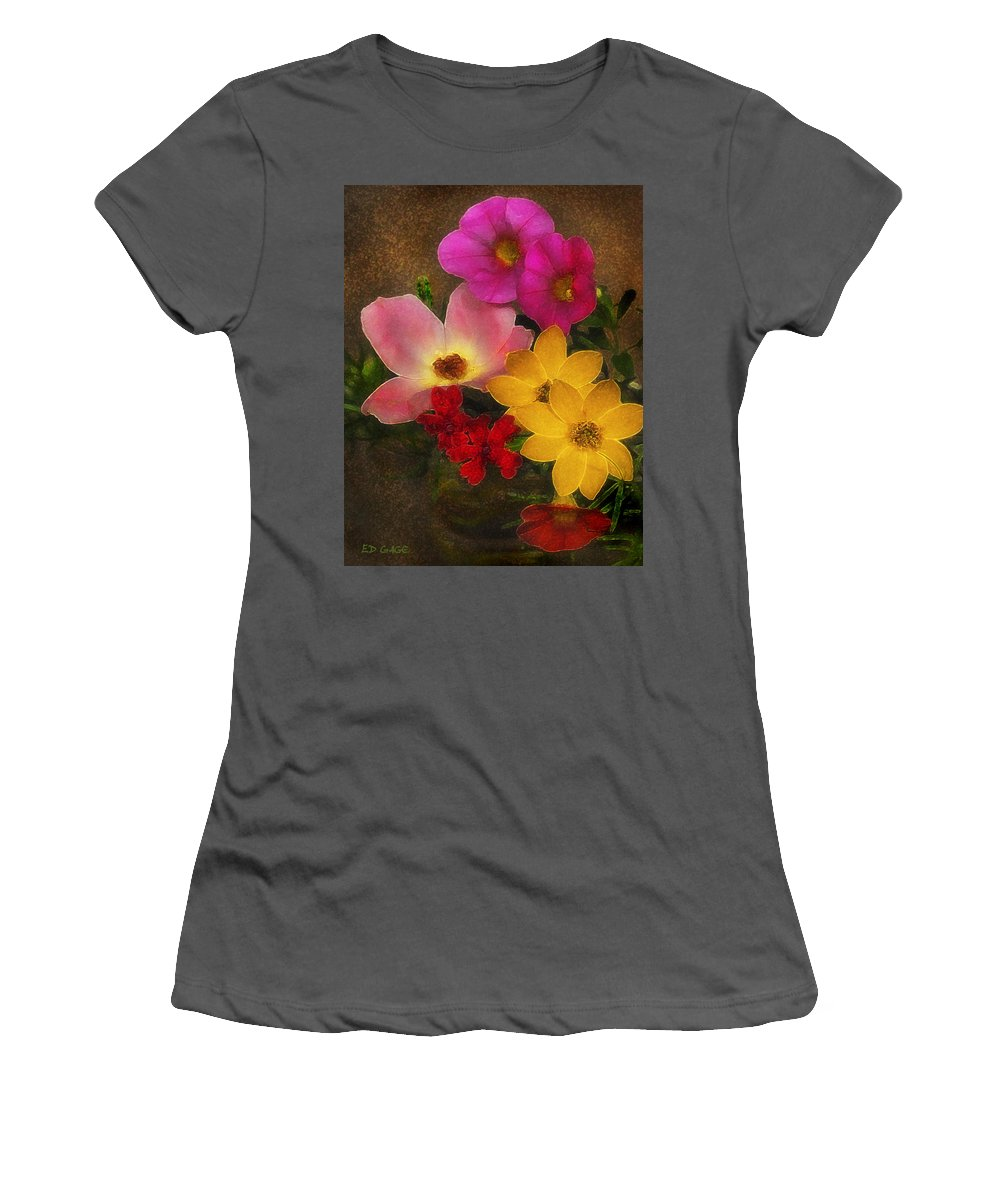 Flower Women's T-Shirt (Athletic Fit) featuring the photograph Vintage Bouquet by Ed A Gage