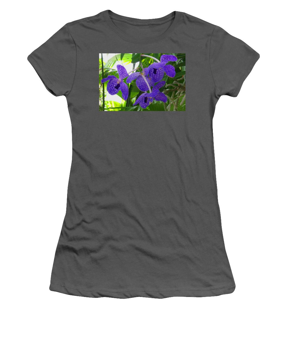 Orchid Women's T-Shirt (Athletic Fit) featuring the photograph Violet Orchid Trio by Laurie Paci