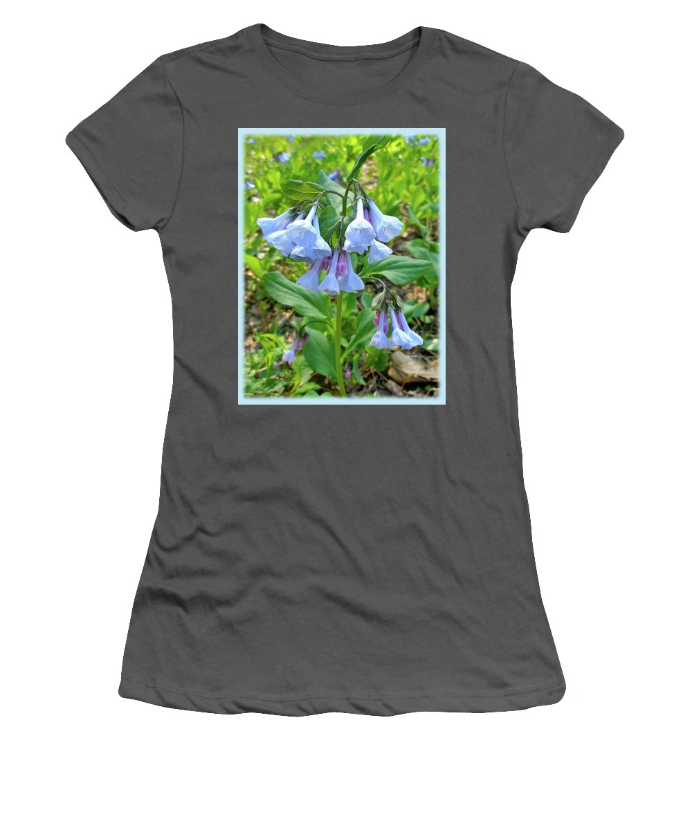 Bluebells Women's T-Shirt (Athletic Fit) featuring the photograph Virginia Bluebells - Mertensia Virginica by Mother Nature