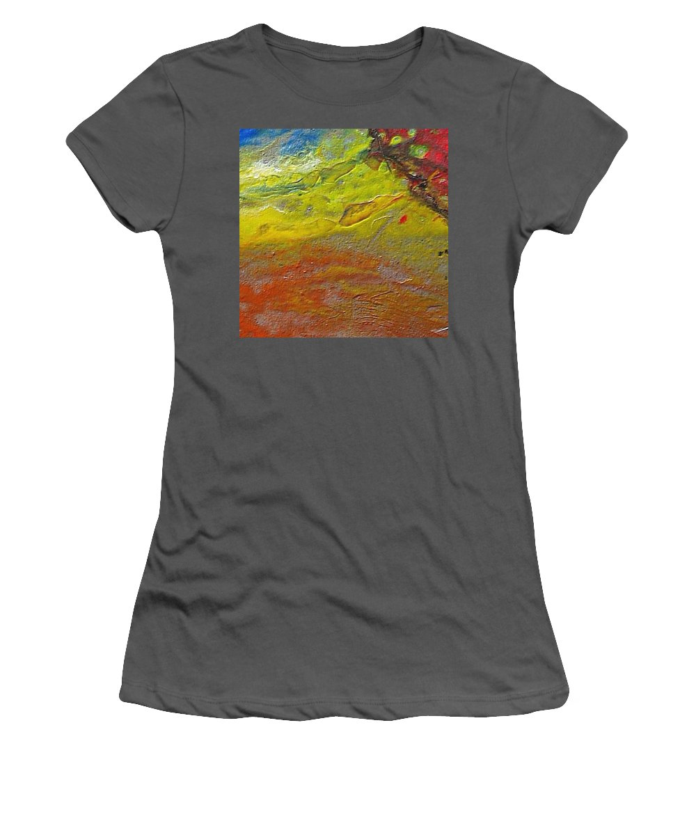 Encaustic Painting Women's T-Shirt (Athletic Fit) featuring the painting W 030 by Dragica Micki Fortuna