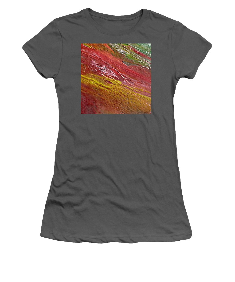 Encaustic Painting Women's T-Shirt (Athletic Fit) featuring the painting W 036 by Dragica Micki Fortuna