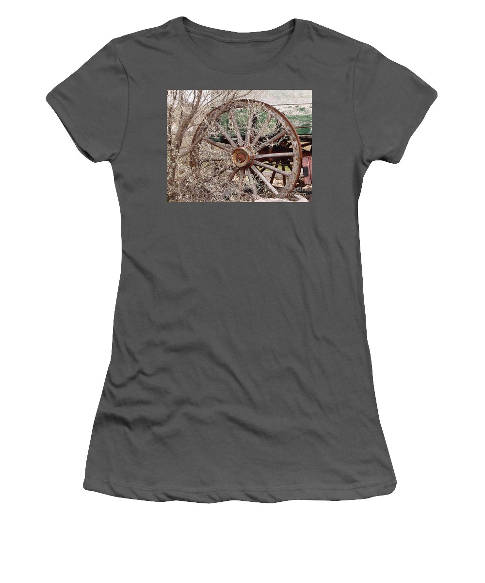 Wagon Women's T-Shirt (Athletic Fit) featuring the photograph Wagon Wheel by Robert Frederick