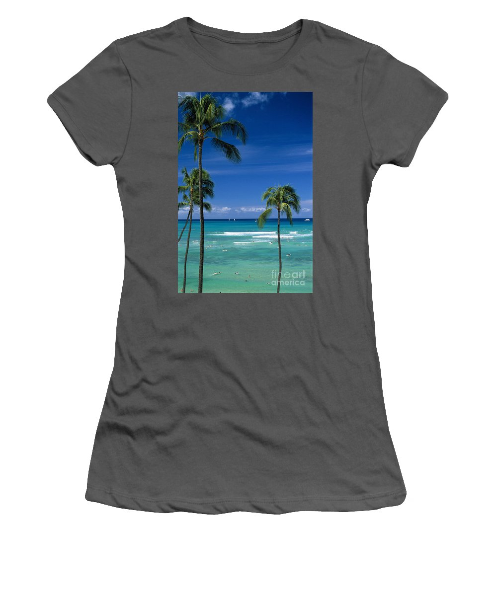 Afternoon Women's T-Shirt (Athletic Fit) featuring the photograph Waikiki Seascape by Carl Shaneff - Printscapes