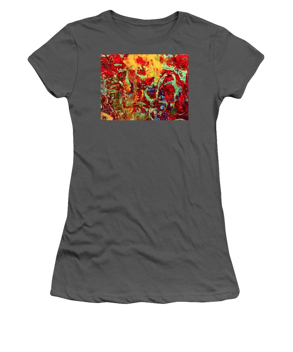 Abstract Women's T-Shirt (Athletic Fit) featuring the painting Walking In The Garden by Natalie Holland