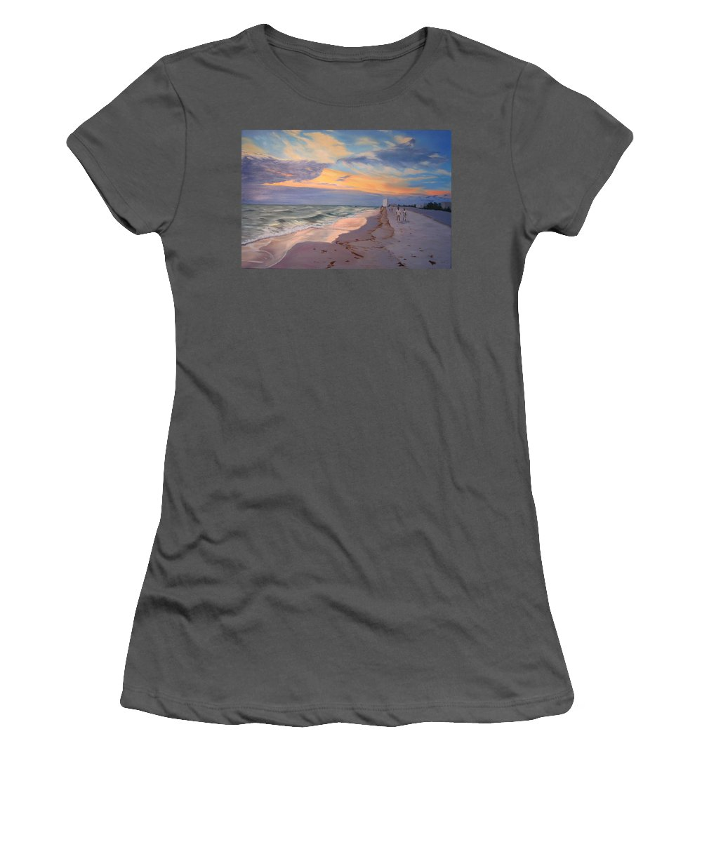 Seascape Women's T-Shirt (Athletic Fit) featuring the painting Walking On The Beach At Sunset by Lea Novak