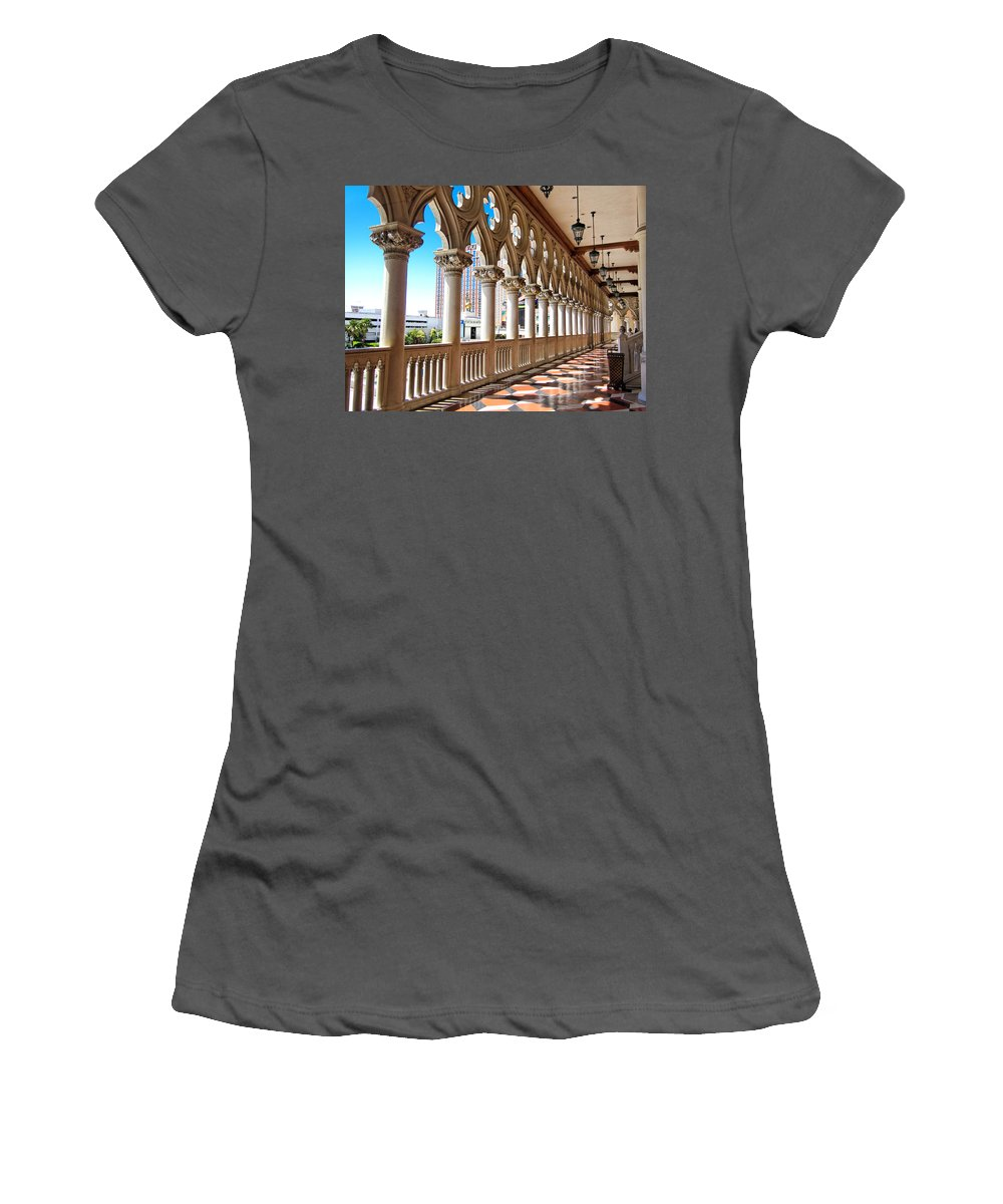 Venetian Hotel Women's T-Shirt (Athletic Fit) featuring the photograph Walkway At The Venetian Hotel by Julie Niemela