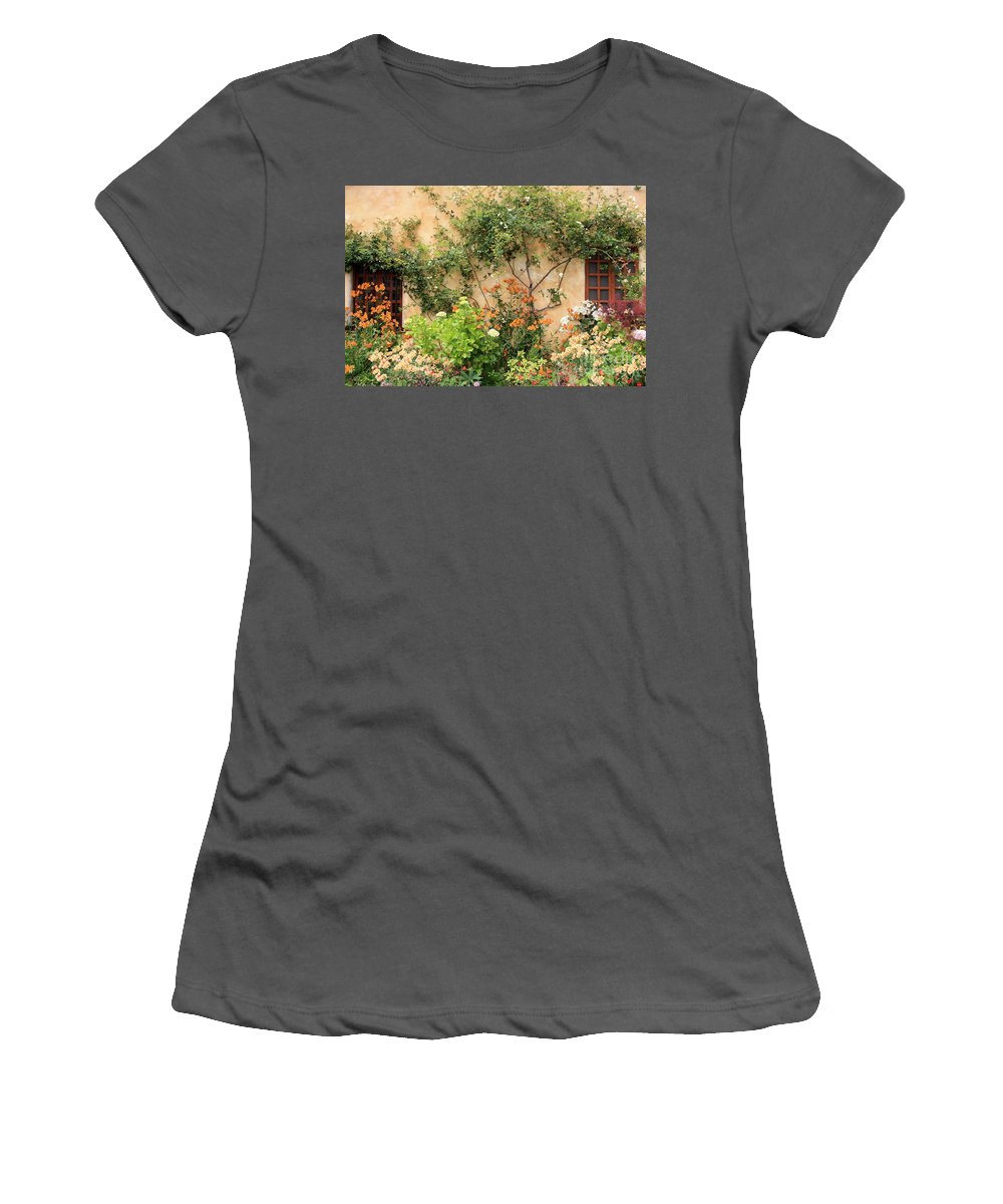 Carmel Mission Women's T-Shirt (Athletic Fit) featuring the photograph Warm Colors In Mission Garden by Carol Groenen