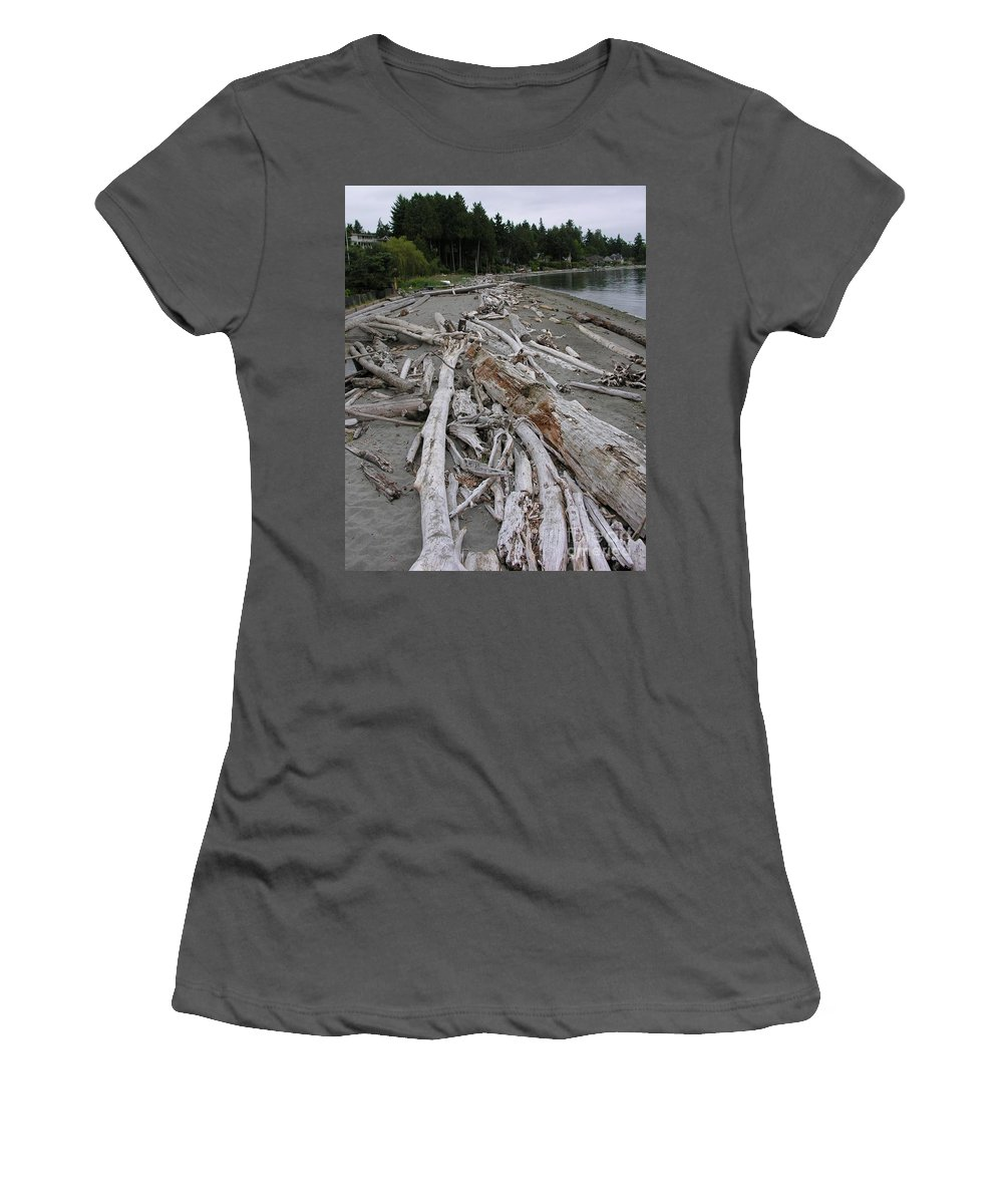 Beach Women's T-Shirt (Athletic Fit) featuring the photograph Washed Up by Diane Greco-Lesser