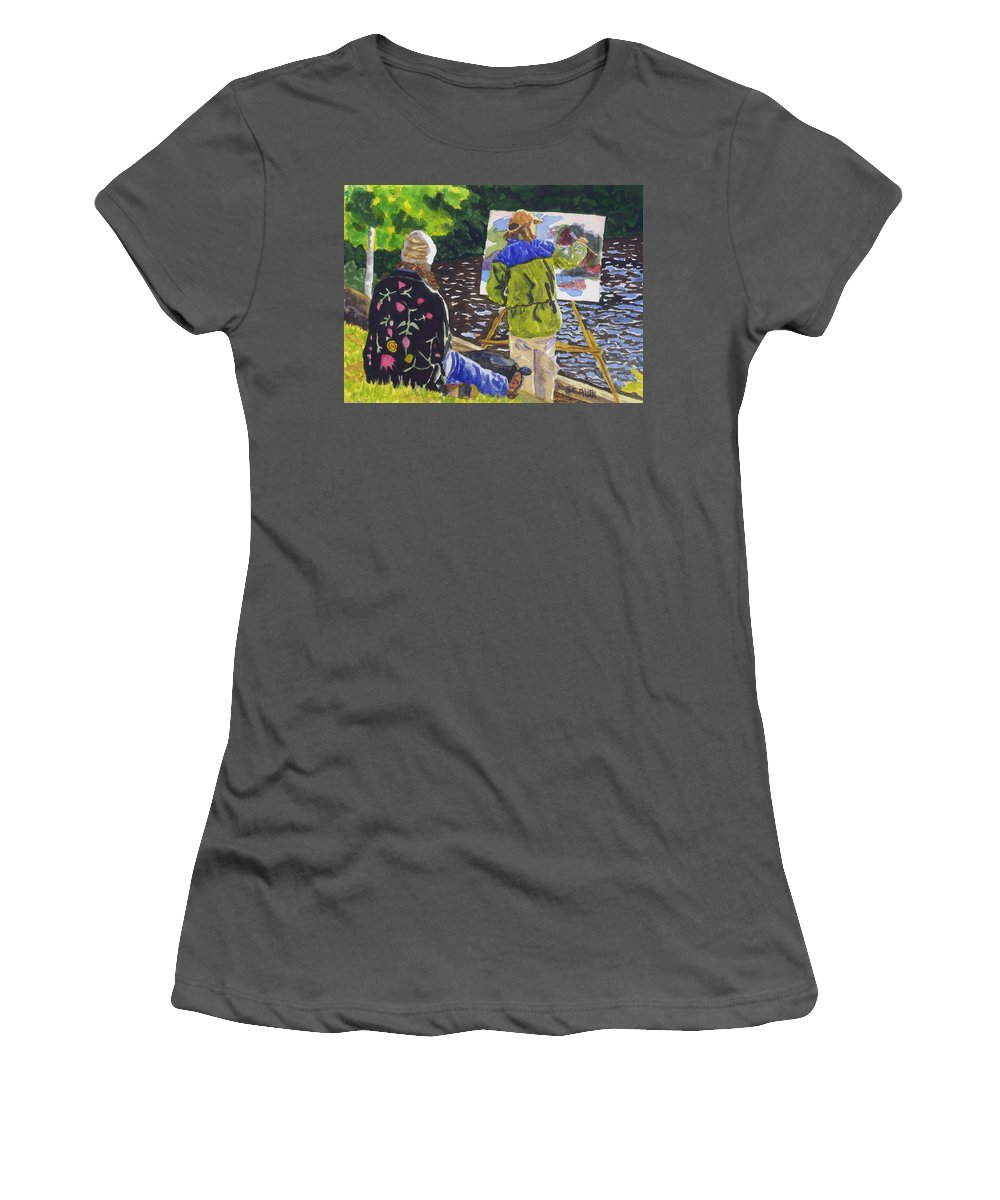 Artist Women's T-Shirt (Athletic Fit) featuring the painting Watching The Maestro by Sharon E Allen