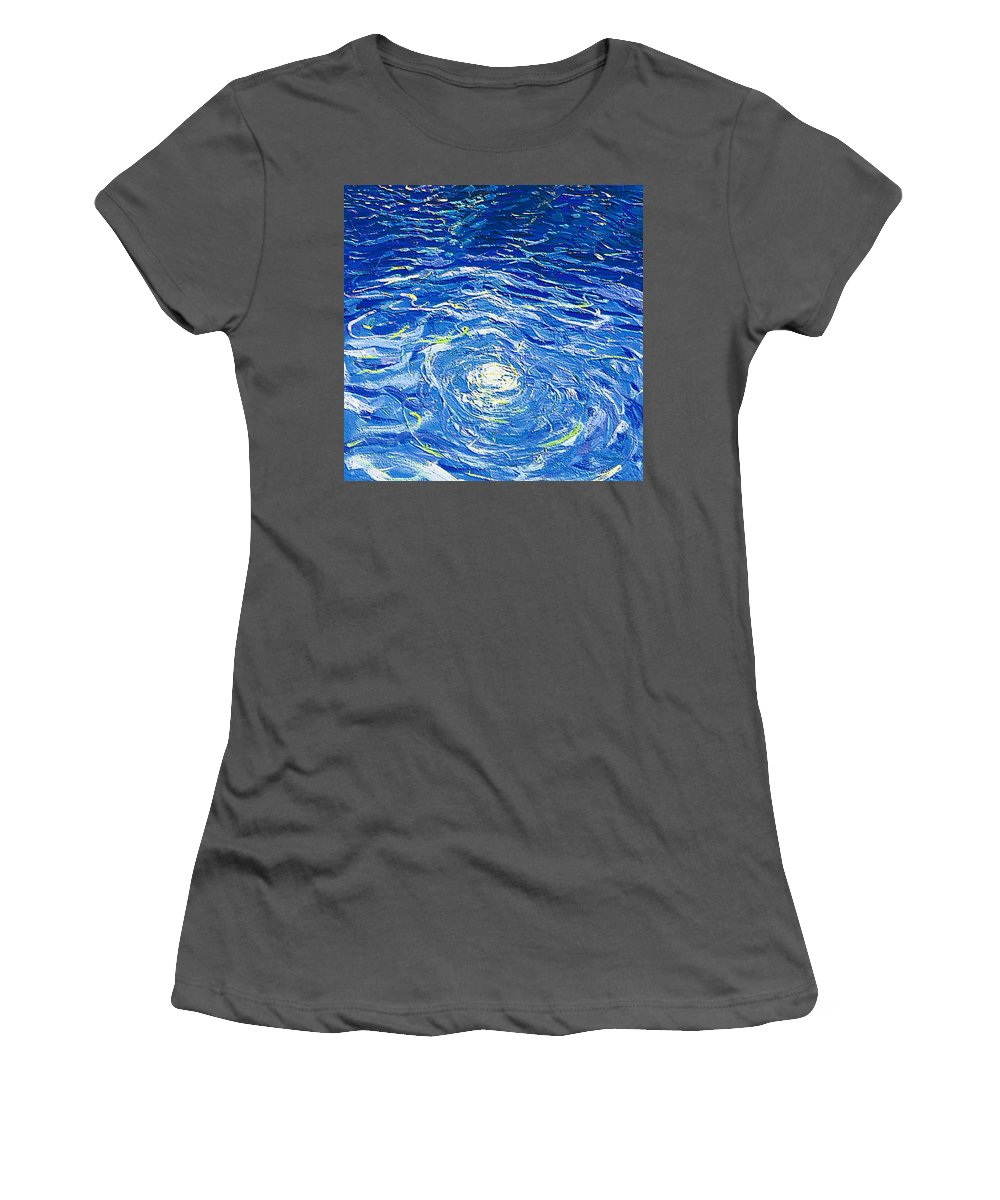 Pool Women's T-Shirt (Athletic Fit) featuring the mixed media Water In The Pool by Dragica Micki Fortuna