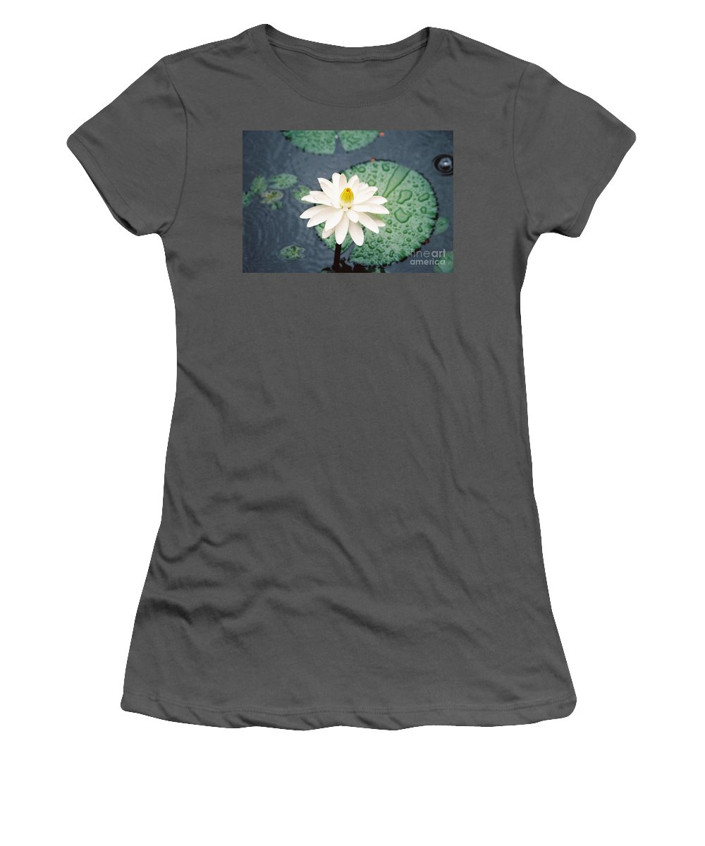 Flowers Women's T-Shirt (Athletic Fit) featuring the photograph Water Lily by Kathy McClure