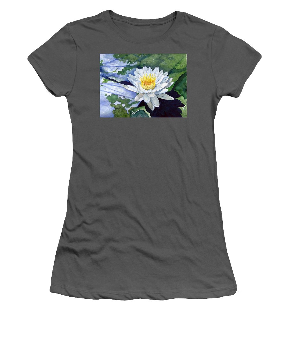 Flower Women's T-Shirt (Athletic Fit) featuring the painting Water Lily by Sam Sidders