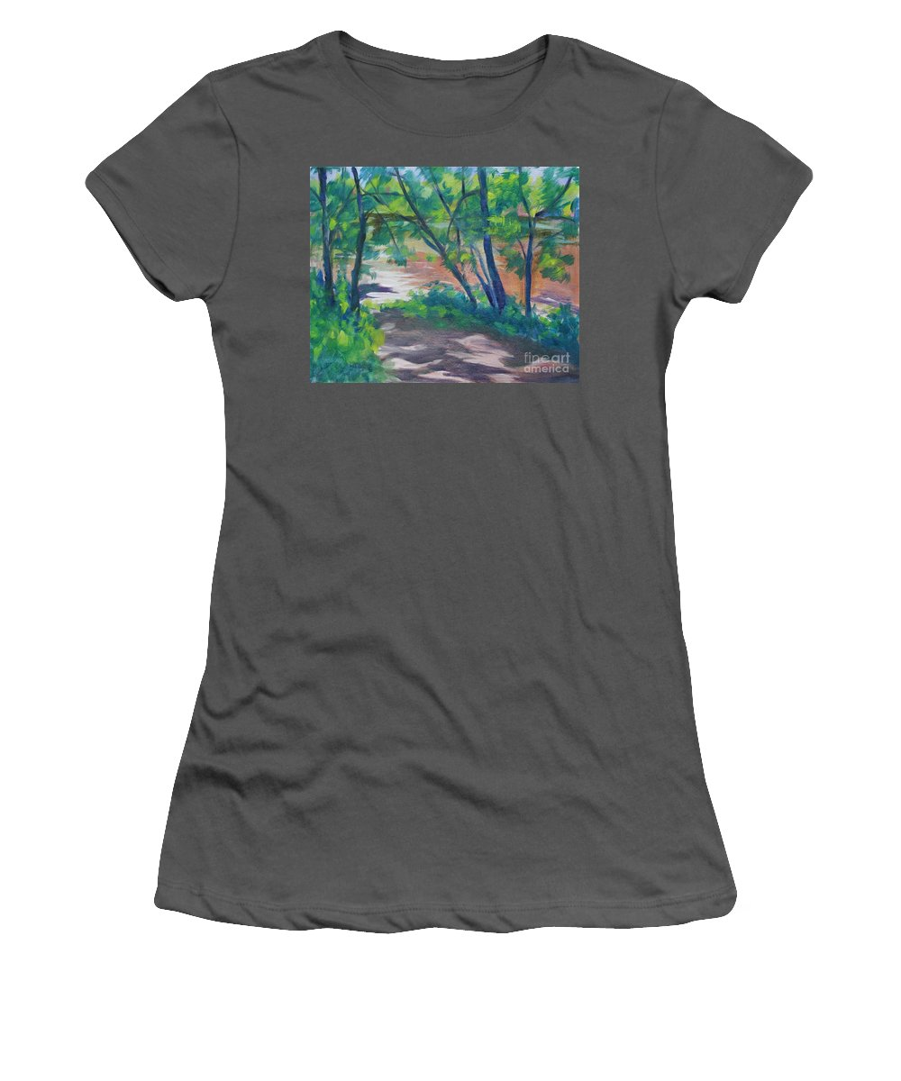 Landscape Women's T-Shirt (Athletic Fit) featuring the painting Watercress Beach On The Current River  by Jan Bennicoff