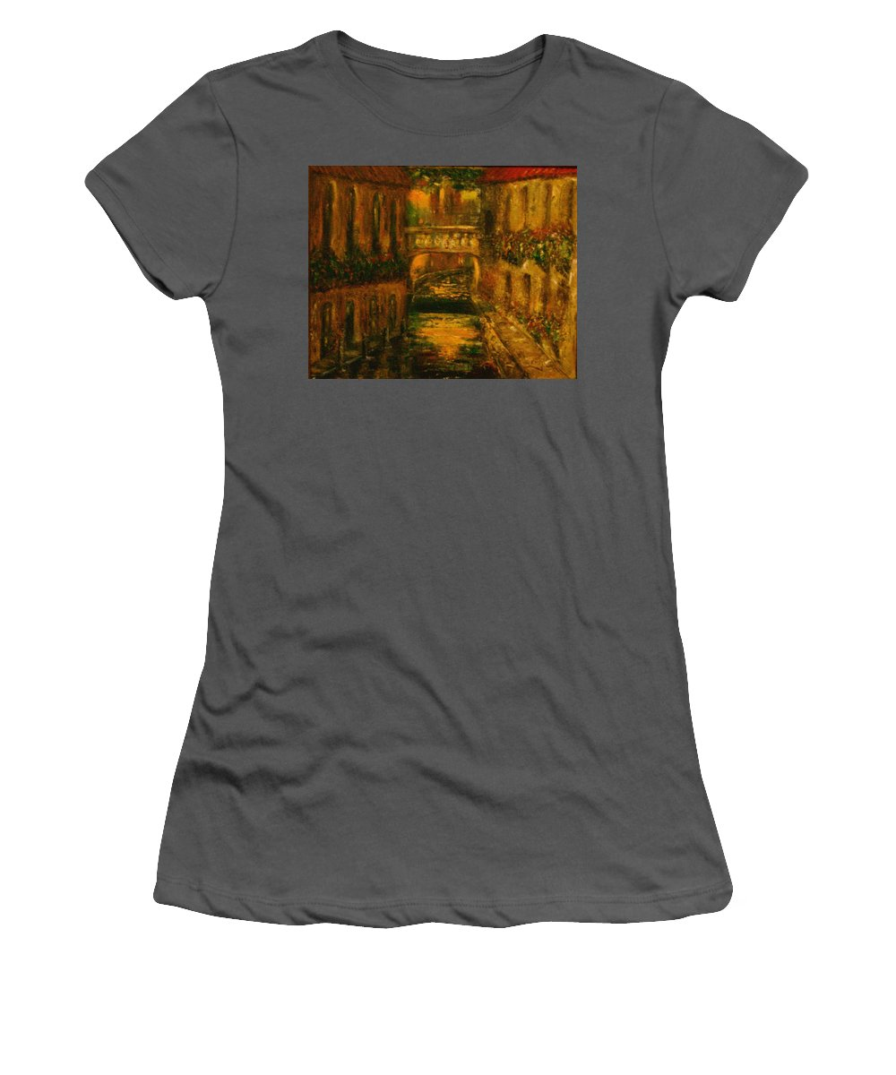 Landscape Women's T-Shirt (Athletic Fit) featuring the painting Waters Of Europe by Stephen King