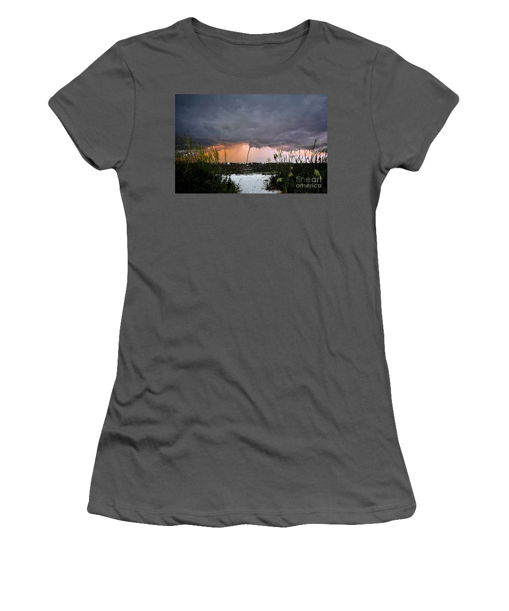 Waterspout Women's T-Shirt (Athletic Fit) featuring the painting Waterspout Over Pass A Grill by David Lee Thompson