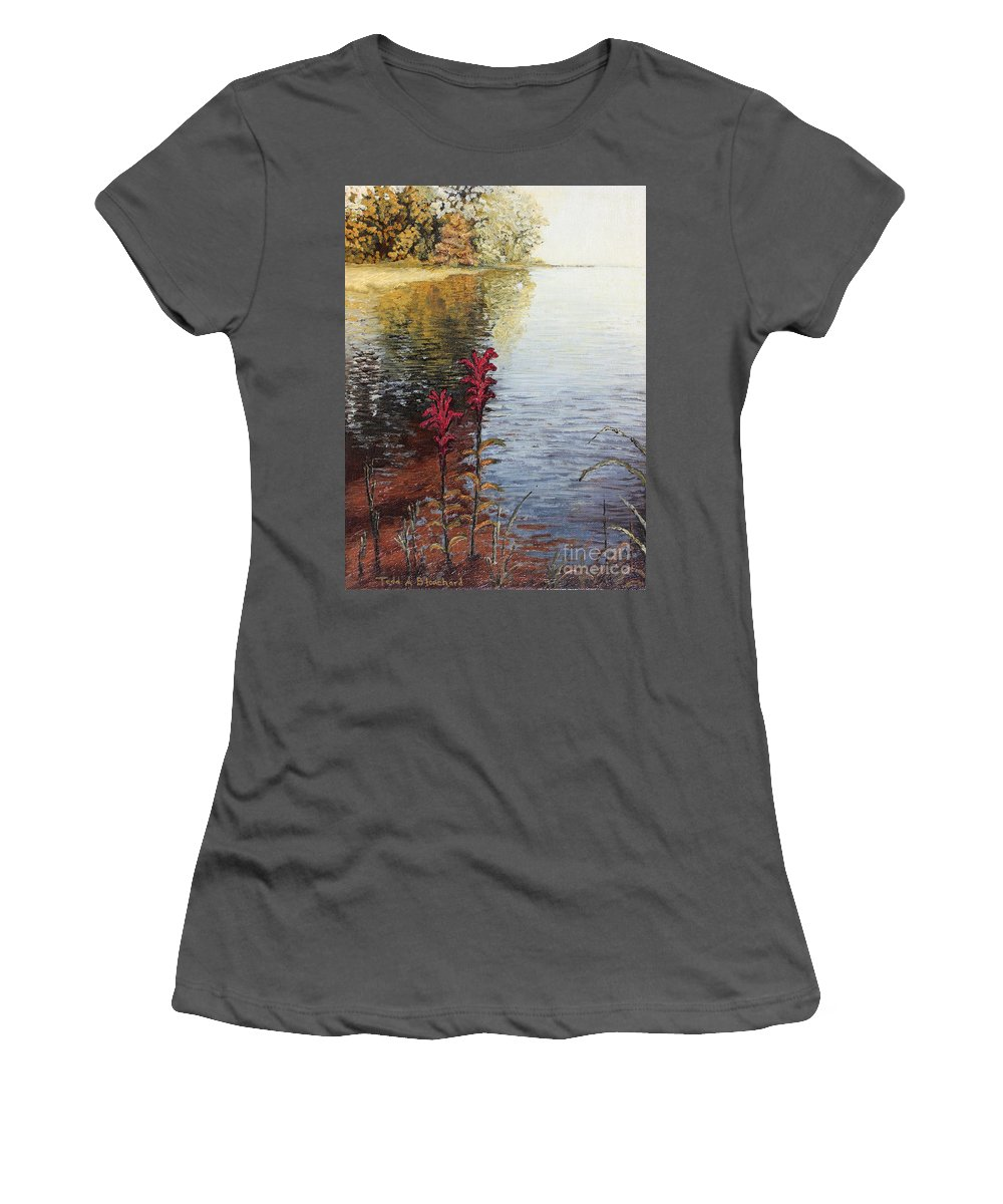 Landscape Women's T-Shirt (Athletic Fit) featuring the painting Watts Bar Lake Rockwood Tn by Todd Blanchard