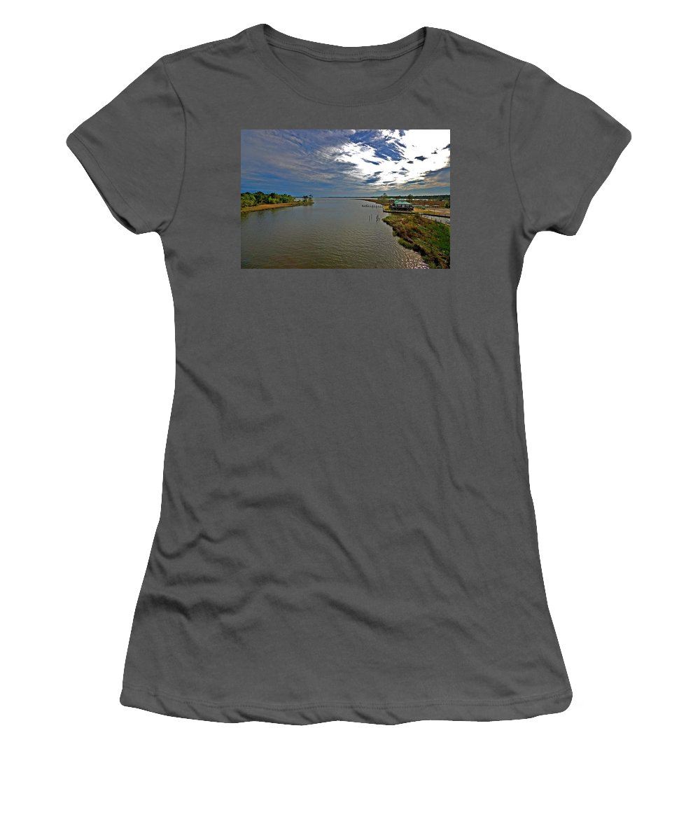 Weeks Bay Women's T-Shirt (Athletic Fit) featuring the painting Weeks Bay At Sunset by Michael Thomas