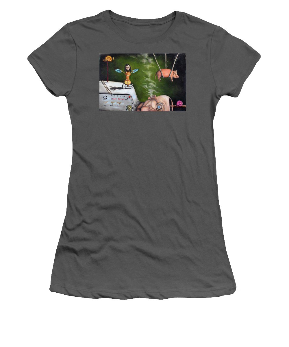 Pig Women's T-Shirt (Athletic Fit) featuring the painting Weird Science-the Robot Factory by Leah Saulnier The Painting Maniac