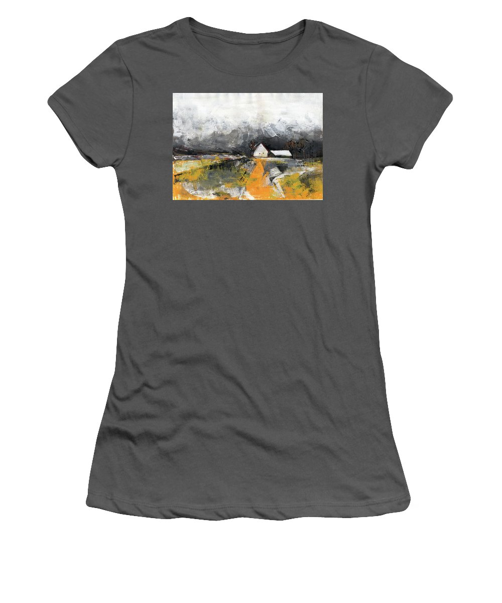Landscape Women's T-Shirt (Athletic Fit) featuring the painting Welcome Home by Aniko Hencz