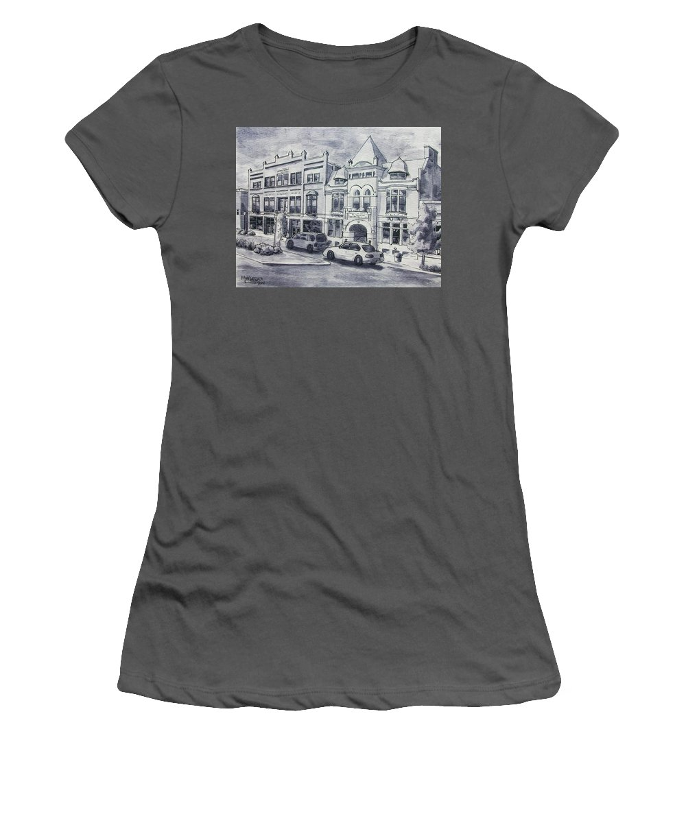 Art & Collectibles Drawing & Illustration Pen & Ink Century Club Russell Block Architecture Shop Together Rising Muskegon Michigan Historic Building Streetscape Victorian Building Western Avenue Downtown Street Modern Home Decor Memories Of Home Women's T-Shirt (Athletic Fit) featuring the painting Western Avenue In Muskegon, Michigan by Mike Kraus