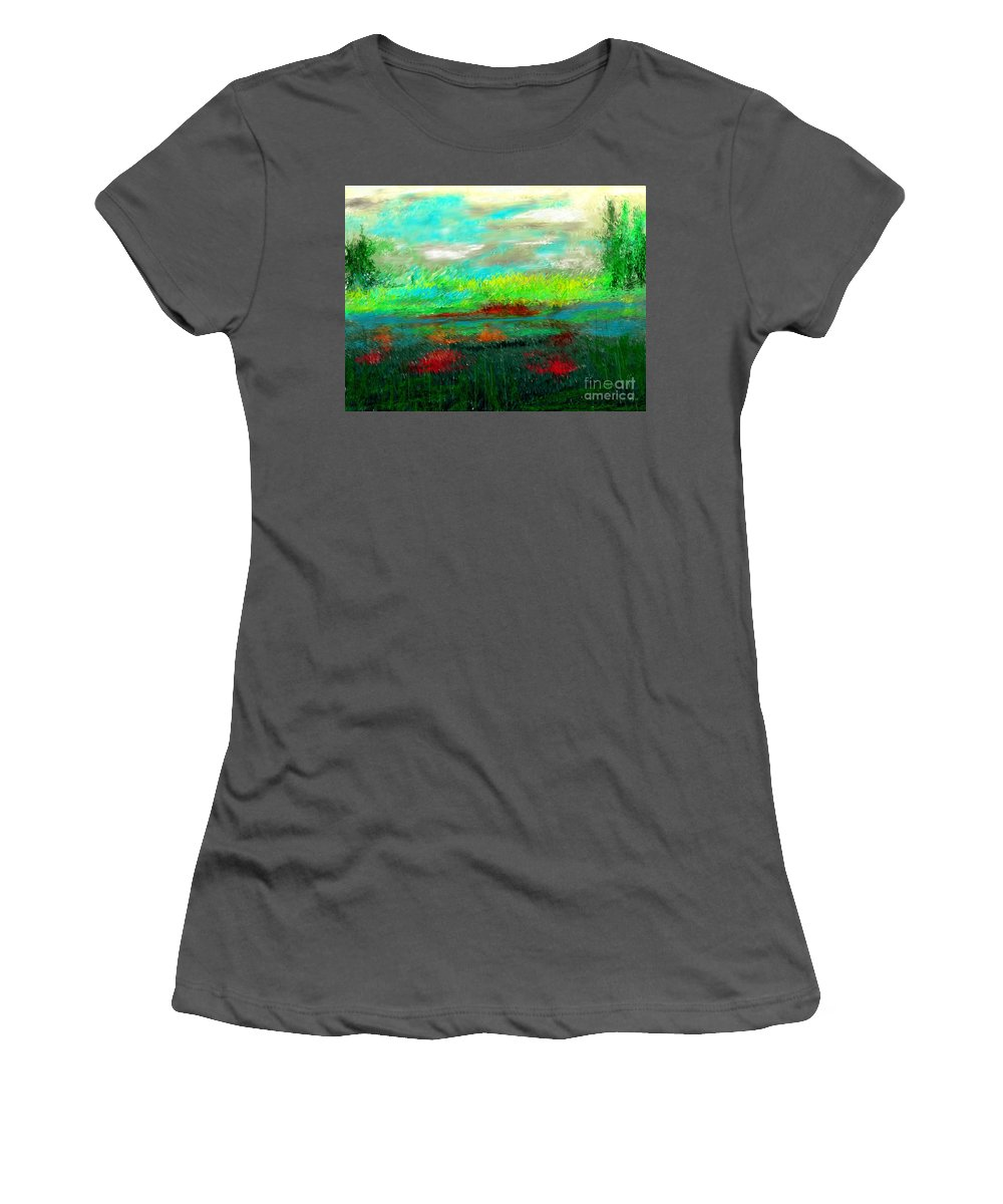 Nature Women's T-Shirt (Athletic Fit) featuring the digital art Wetlands by David Lane