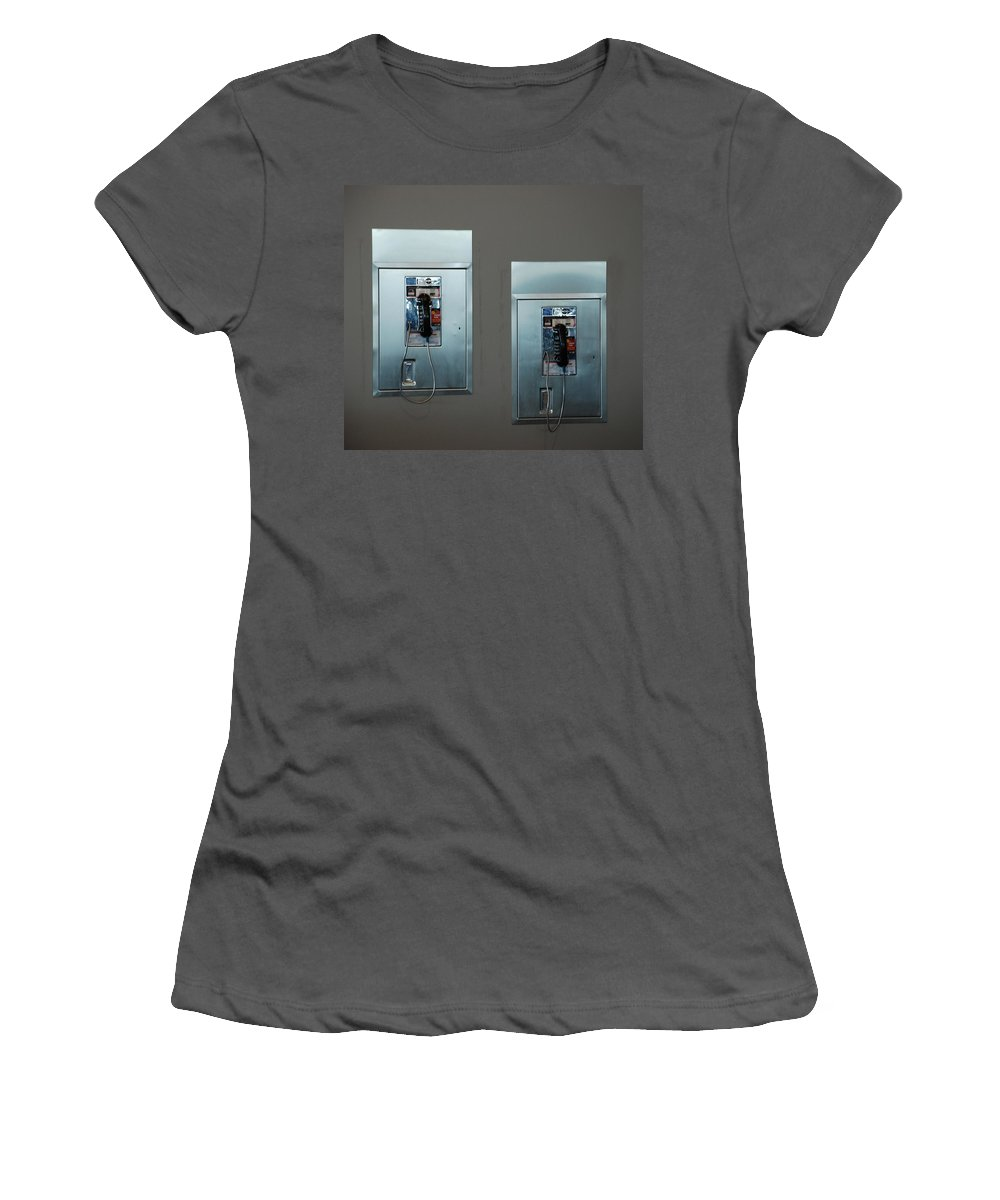 Pay Phones Women's T-Shirt (Athletic Fit) featuring the photograph What Is That Dad .... Why It Is A Pay Phone Son by Rob Hans