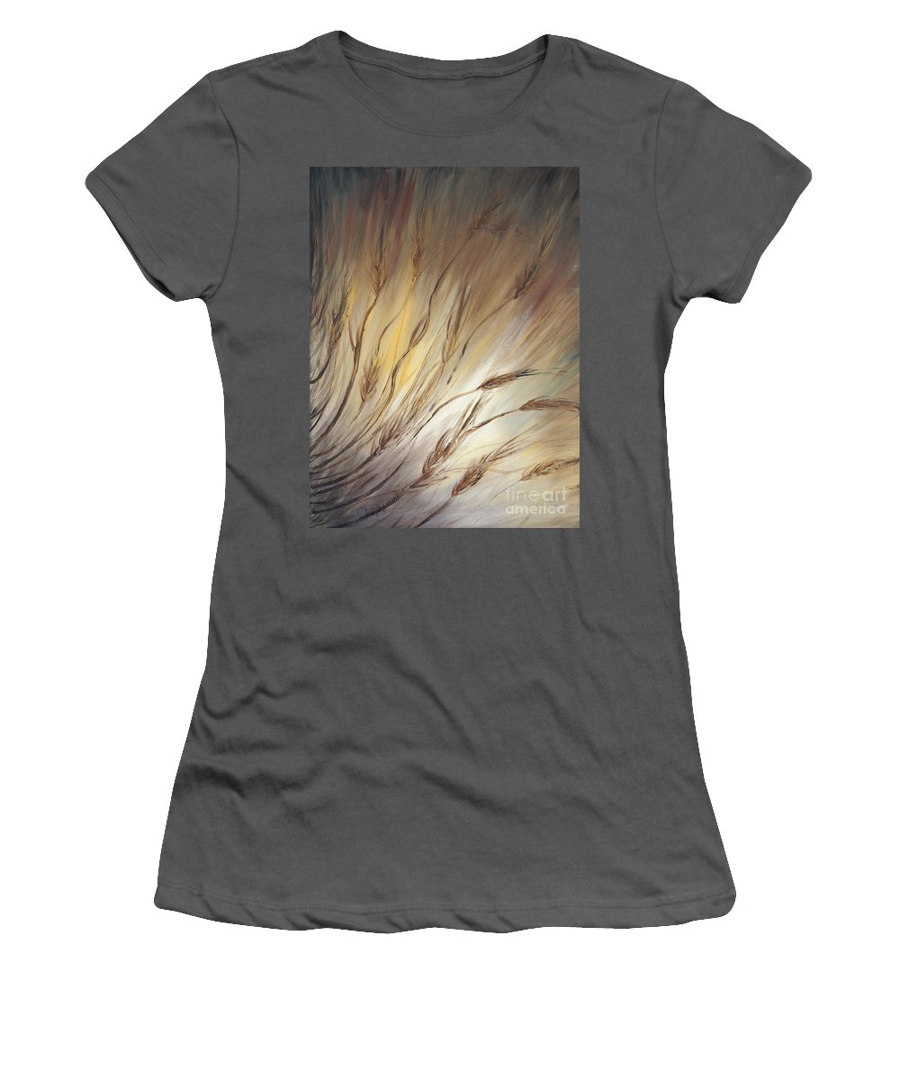 Wheat Women's T-Shirt (Athletic Fit) featuring the painting Wheat In The Wind by Nadine Rippelmeyer