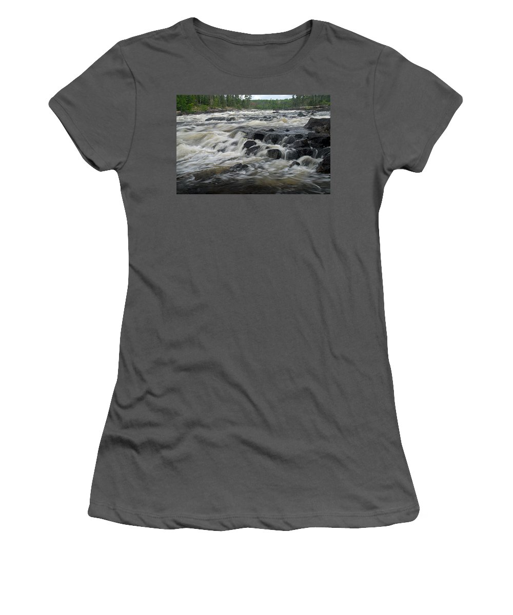 Boundary Waters Canoe Area Wilderness Women's T-Shirt (Athletic Fit) featuring the photograph Wheelbarrow Falls by Larry Ricker