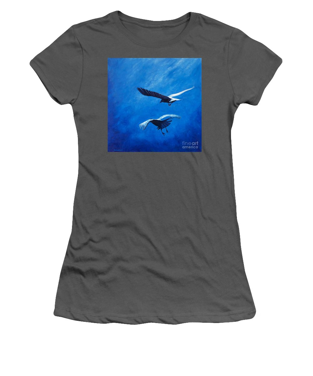 Birds Women's T-Shirt (Athletic Fit) featuring the painting When The Light Comes by Brian Commerford