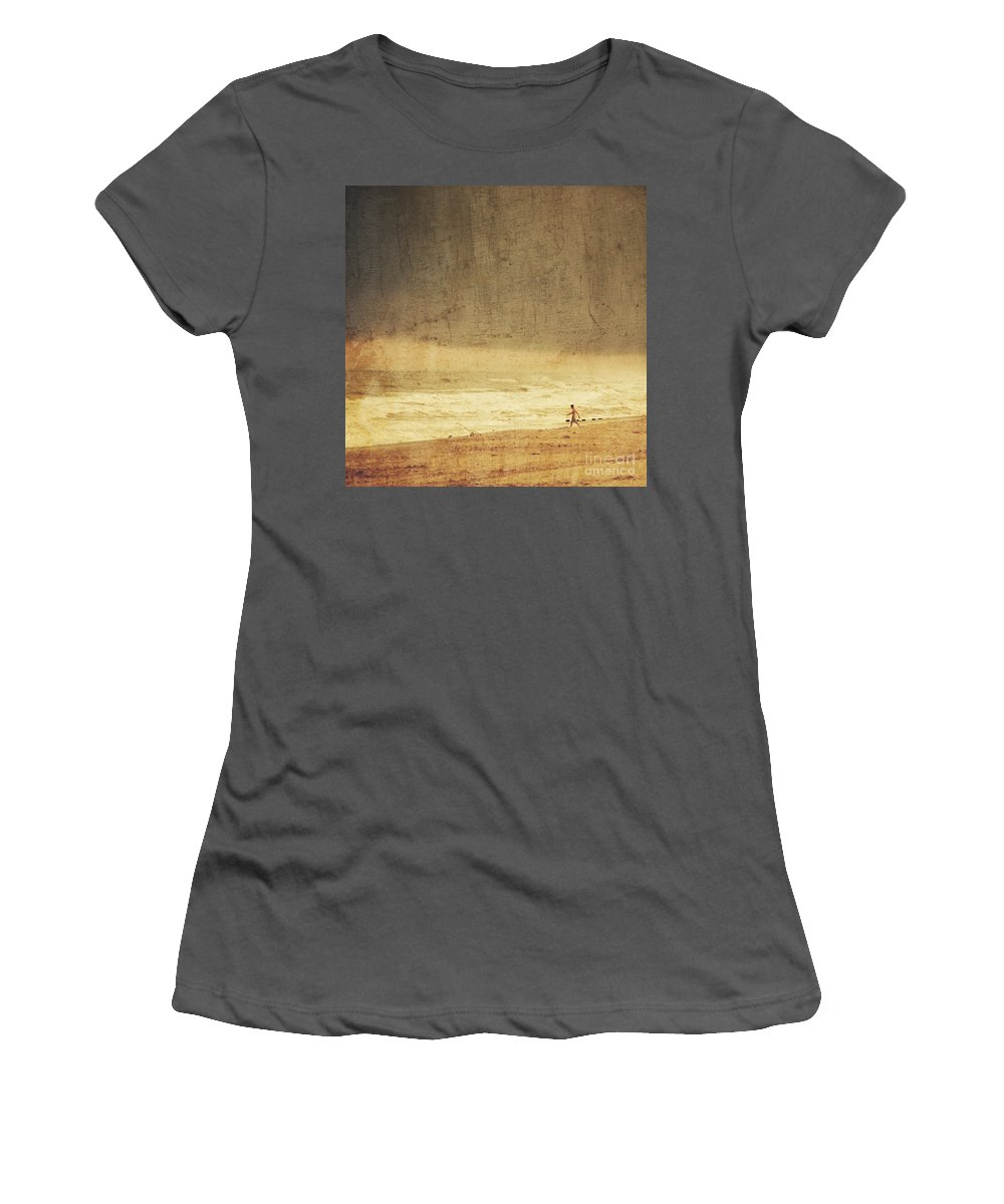 Man Women's T-Shirt (Athletic Fit) featuring the photograph Where The Sky Meets The Sea by Dana DiPasquale