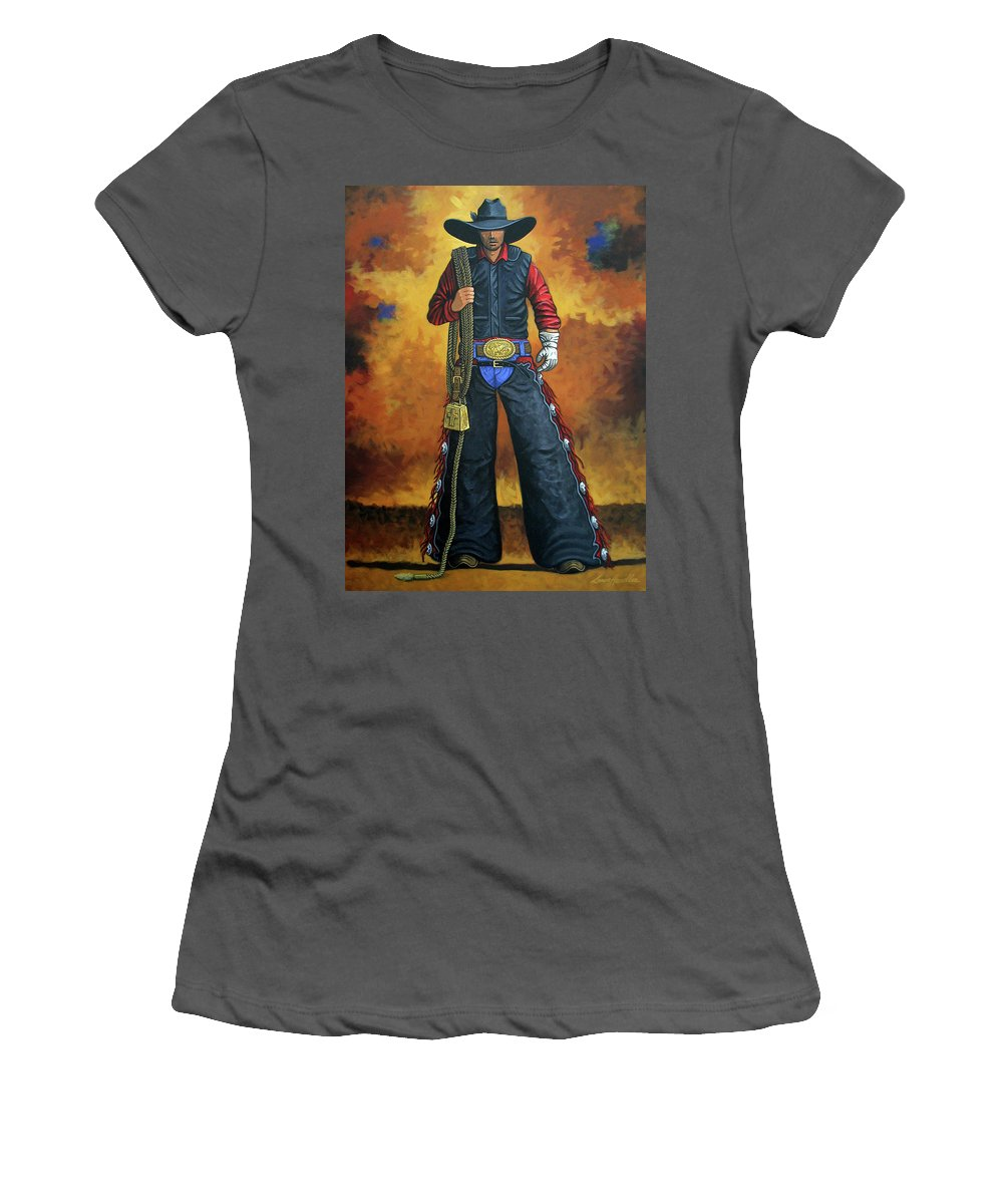 Rodeo Women's T-Shirt (Athletic Fit) featuring the painting Where's My Ride by Lance Headlee