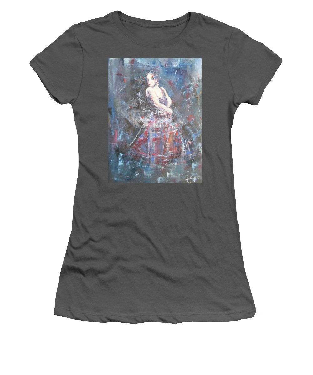 Female Women's T-Shirt (Athletic Fit) featuring the painting Whirlpool by Jovica Kostic