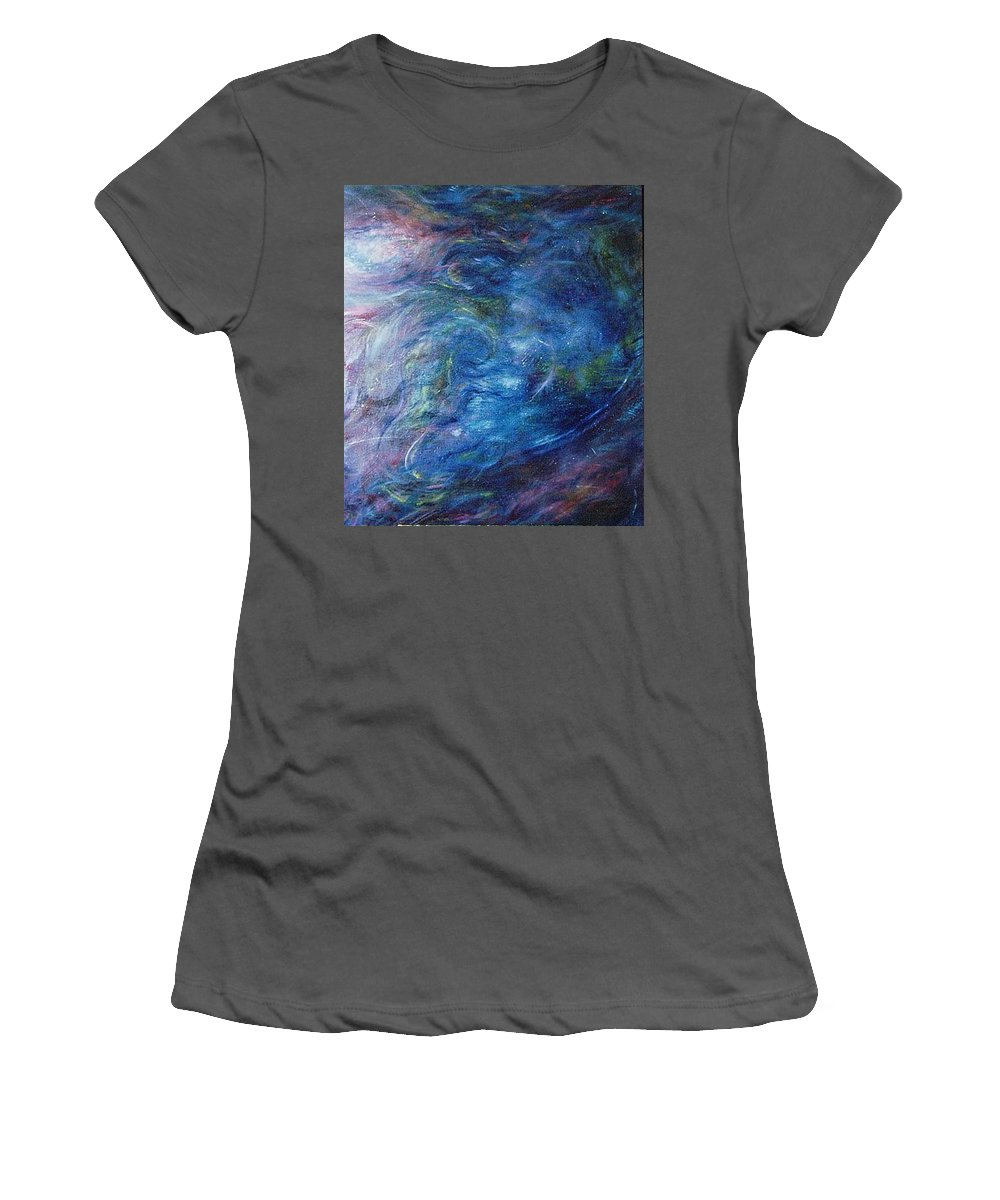 Abstract Women's T-Shirt (Athletic Fit) featuring the painting Whispers In A Sea Of Blue by Nancy Mueller