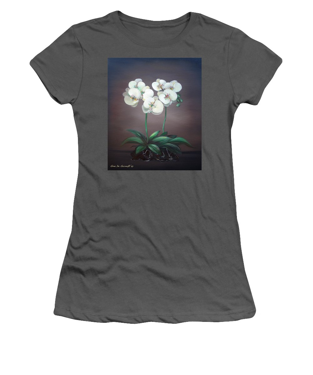 White Orchids Flowers Oil Paintings Women's T-Shirt (Athletic Fit) featuring the painting White Orchids by Gina De Gorna
