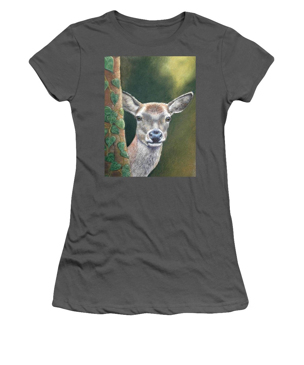 Rainforest Women's T-Shirt (Athletic Fit) featuring the painting White Tail Doe At Ancon Hill by Ceci Watson