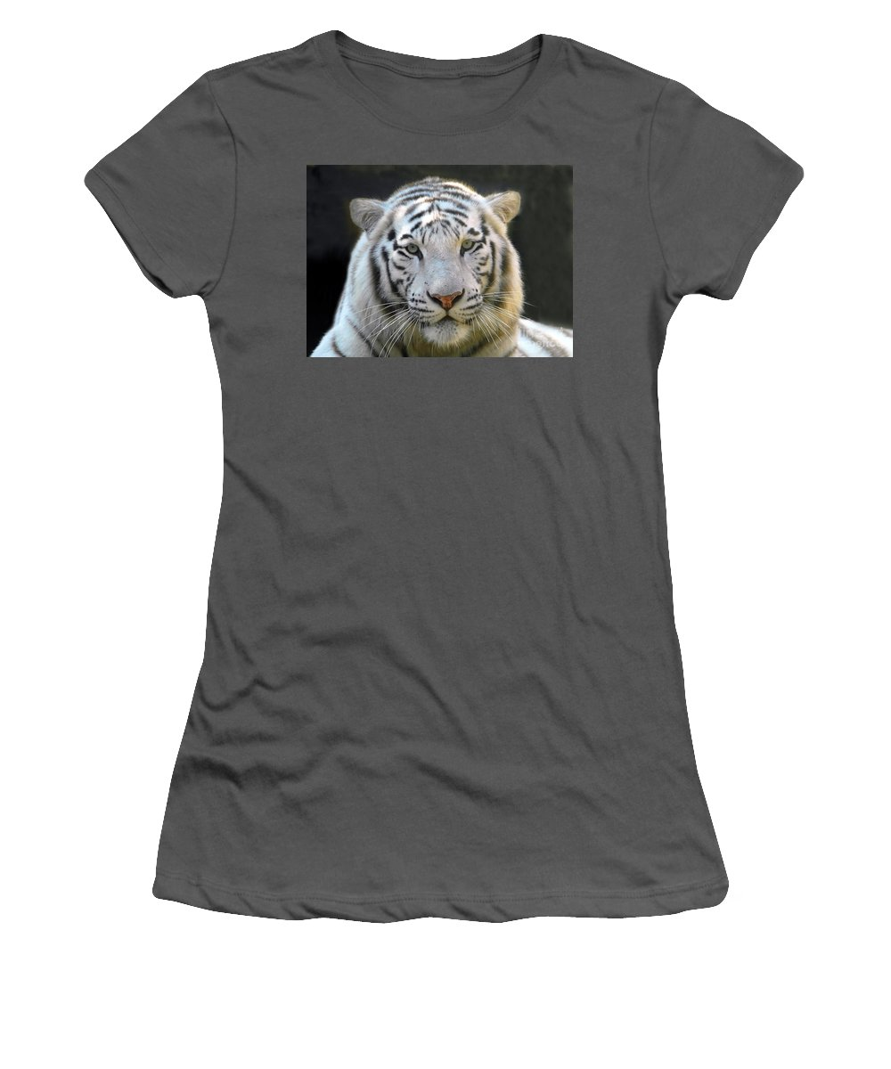 White Tiger Women's T-Shirt (Athletic Fit) featuring the photograph White Tiger by David Lee Thompson