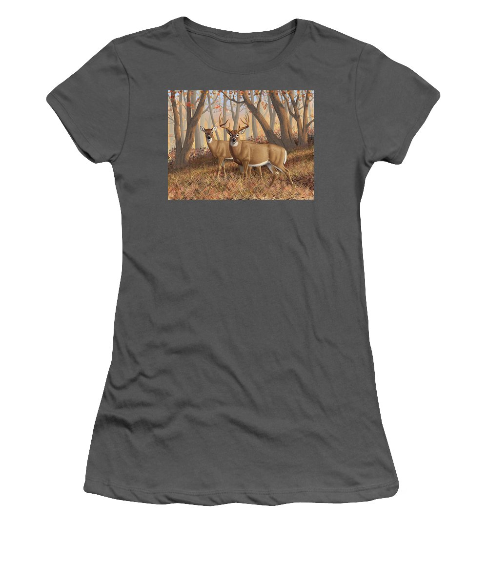 Deers Women's T-Shirt (Athletic Fit) featuring the painting Whitetail Deer Painting - Fall Flame by Crista Forest