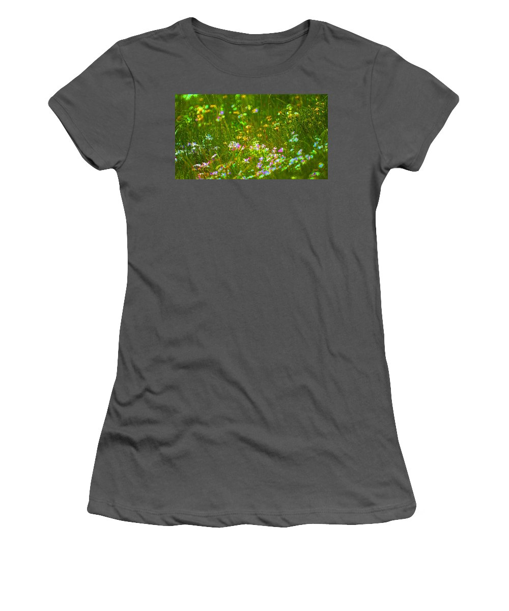 Wildflower Women's T-Shirt (Athletic Fit) featuring the photograph Wildflower Field by Heather Coen