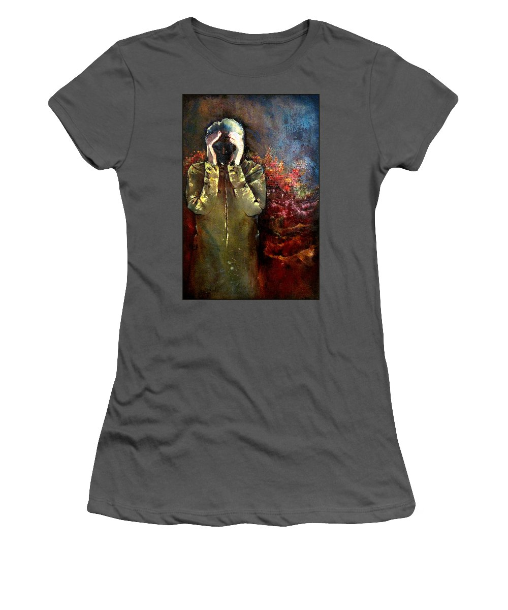 Heartbreak Women's T-Shirt (Athletic Fit) featuring the painting Willful Amnesia by Shadia Derbyshire